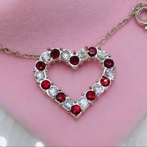 Ruby heart ❤️ necklace silver plated CZ diamond